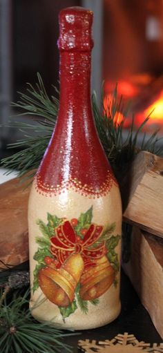 , see hand made, vintage, and one associated with a level merchandise and items linked to your desired quest. Glass Bottle Crafts, Wine Bottle Art, Painted Wine Bottles, Diy Bottle, Painted Wine Glasses, Bottles And Jars, Christmas Decoupage, Christmas Crafts, Christmas Decorations