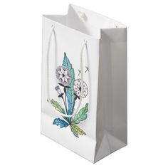Shop dandelions summer botanical flowers small gift bag created by KaraBra. Small Gift Bags, Small Gifts, Dandelion Flower, Seating Chart Wedding, Botanical Flowers, Watercolor Rose, Card Patterns, Small Flowers, Wedding Thank You