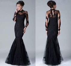2014 New Long Sleeve Black Applique Mermaid Prom Dress Party Gown Formal