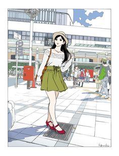 My biggest art inspiration/influence aside from Hayao Miyazaki is Hisashi Eguchi. Manga Drawing, Manga Art, Anime Art, Drawing Tips, Pop Art Illustration, Illustrations, Hipster Drawings, Art Drawings, Couple Drawings