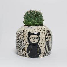 Creatures Traveling from faraway - Ceramic Pot - Black and White