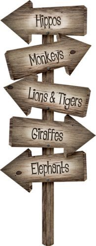 Wood or paper Jungle/Zoo themed arrow sign