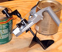 Rockler Mixing Mate Paint Lid,  Mixes, pours and stores.  Great Idea for mixing paint and no mess pouring into roller pans.  I want this for my paint jobs!!