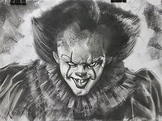 *original* A2 fan art of Pennywise The Clown from IT. Framed, signed & dated. #IT #Pennywise #losersgang #charcoal #portrait #creepy #fantasy #horror #movie #2017 #stevenking #clown #scary #art #artwork #float #horror #drawing #face #fanart #nightmare