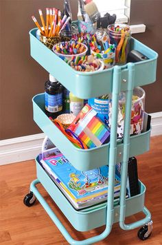 If you're looking for a way to store your craft supplies all in one place, this utility cart is for you.