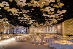 This ballroom setting was centered around creating a lush mixture of grand elements. In one moment the French inspired illustrations and wall details transport you Wedding Stage Decorations, Indian Wedding Stage, Lebanese Wedding, Luxury Wedding Decor, Ceiling Decor, Banquet, Event Decor, Wedding Designs, Wedding Venues