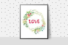 Floral Printables, Valentines Day Gifts For Her, Frame It, Beautiful Gifts, Printable Art, House Warming, Digital Prints, Wedding Gifts, Floral Wreath