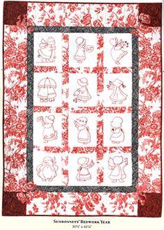 Sunbonnet Sue redwork quilt!