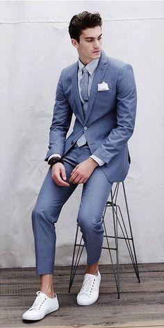 2017 Latest Coat Pant Designs Blue Casual Notched Lapel Custom Made Young Slim Fit Suit For Men 2 Pieces Tuxedo Masculino C Latest Mens Fashion, Mens Fashion Suits, Mens Suits, Suits And Sneakers, Sneakers Fashion, Men Sneakers, Outfit Hombre Formal, Casual Suit, Men Casual