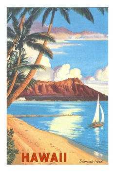 Diamond Head, Hawaii Premium Poster  http://www.allposters.com/-sp/Diamond-Head-Hawaii-Posters_i813879_.htm?aid=2016345845=1=2=7=http%3A%2F%2Fwww.hawaiiforvisitors.com%2Fposters%2Ftravel-ads.htm#
