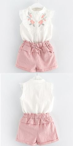 Pinky Ruffles Shirt and Pants Set Add bright cheer to everyday ensembles with this ruffled top and versatile shorts coordinated set. Kids Summer Dresses, Little Girl Outfits, Toddler Girl Outfits, Little Girl Fashion, Little Girl Dresses, Toddler Fashion, Kids Outfits, Kids Fashion, Baby Dress Design