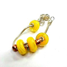 Bracelet yellow lampwork handmade by Bob 6 3/4 to 7 1/2 big hole with spacers  #Pat2 #bighole