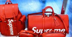 LV x Supreme. Small leather goods to cost approx euros, bags and backpacks Epi leather. Supreme Lv, Supreme Bape, Supreme Backpack, Supreme Clothing, Supreme Accessories, Louis Vuitton Collection, Collection Capsule, Small Leather Goods, Louis Vuitton Handbags
