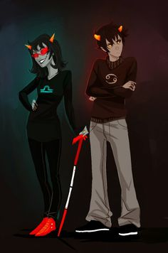 Terezi and Karkat. She's probably my favourite Troll out of all of them, aside from being a Libra like me.