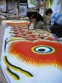 History of the Koinobori/ childrens day students paint a scale for the larger fish