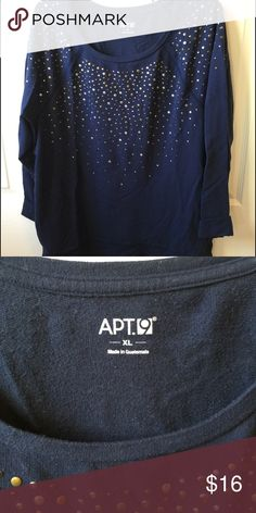 Apt 9 navy sweatshirt Navy light weight sweatshirt with embellishments in great condition. Only worn twice and from a smoke free and dog friendly home. Apt. 9 Tops Sweatshirts & Hoodies