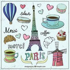 Drawing Vectors, Photos and PSD files Francia Paris, Paris France, Paris Clipart, Merci Paris, Travel Doodles, Conversational Prints, Paris Wallpaper, Paris Theme, Art Sketchbook