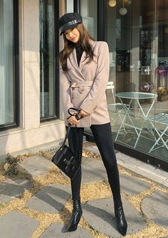 Classic Mood Modern Belt Jacket - I know you wanna kiss me. Thank you for visiting CHUU. Asian Fashion, Look Fashion, Daily Fashion, Teen Fashion, Winter Fashion, Fashion Outfits, Classy Outfits, Cool Outfits, Mode Ulzzang