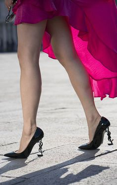 YSL Opium Pumps & Pink Ruffle Skirt at Piazza San Marco, Venice, Italy | Of Leather and Lace