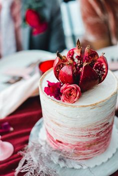 Pink Wedding Cakes Pomegranate Fuchsia Pink Wedding Cake at the Radical Wed Retreat in Seaside, Oregon // Photo by Lauryn Kay Wedding Cake Prices, Purple Wedding Cakes, Beautiful Wedding Cakes, Wedding Cake Designs, Pomegranate Wedding, Christmas Wedding Cakes, Vegan Wedding Cake, Big Cakes, Red Velvet