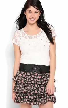Deb Shops Triple Tiered Rose Print Skirt with Belt $14.25