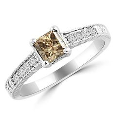 Jewelry Point - 0.70ct Princess Champagne Brown Diamond Engagement Ring Vintage Style, $1,100.00 (http://www.jewelrypoint.com/0-70ct-princess-champagne-brown-diamond-engagement-ring-vintage-style/)