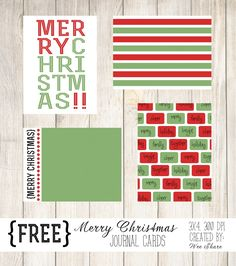 Merry Christmas Journal Cards, Christmas Free Digital Project Life Journaling / Filler Cards from Wee Share,