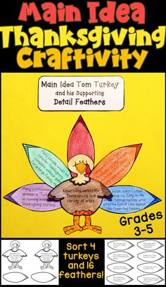 Main Idea Thanksgiving Craftivity- Read the Thanksgiving-related detail sentences on each feather, and match it to the main idea sentence written on one of the four turkeys!