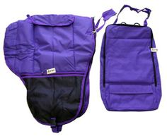 Deluxe Western Saddle Carrier and Bridle Halter Bag Purple Set by AJ. $75.00. Saddle CarrierDeluxe western saddle carrying case. Extra large size, should fit most western saddles. Made with durable water resistant 600D canvas nylon with poly fill, features:    Durable water resistant 600 denier canvas poly nylon     Adjustable shoulder strap with shoulder pad    Removable front carrying strap    Me...