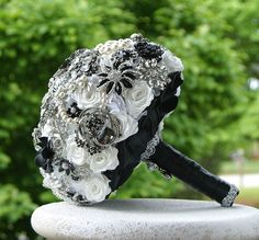 Black and White Wedding Brooch Bouquet. Deposit on by annasinclair