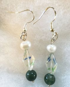 Greenbeads Mother-of-Pearl Beaded Dangle Earrings