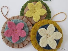 Wool Felt Flowers, White, Yellow, Pink, Set of 3, Wool Felt Ornaments