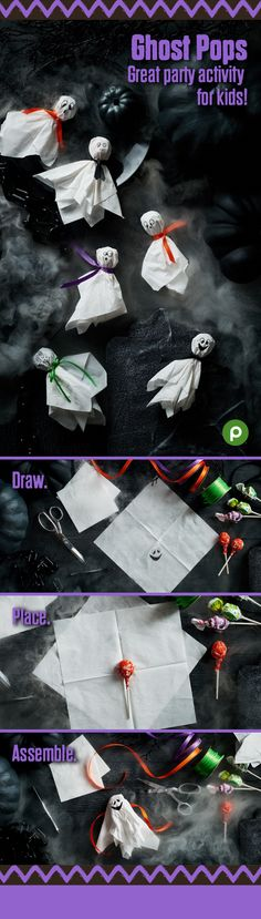 Make these adorable ghost disguises for lollipops using simple household items. Ghost Pops are fun to make, and a scream to receive. So pick up a bag of your favorite pops—it's time to get crafty with your candy! Visit us and get easy-to-follow instructions for this and more fun Halloween crafts and recipes. Many of the supplies and ingredients are available at your neighborhood Publix.