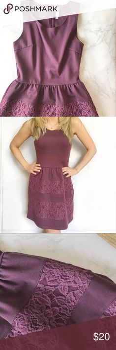 Purple Fit And Flare Dress This purple dress is so flattering. It has a modest neckline and fit and flare shape hitting just above the knee. I love the lace block stripe detailing along the bottom.   💜 Make an Offer! 💜 Xhilaration Dresses Mini
