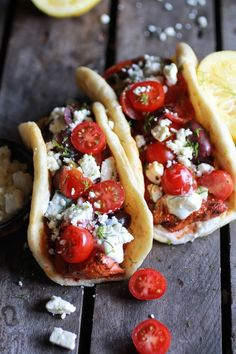 Greek Salmon Souvlaki Gyros with Tzatziki #healthy #souvlaki #recipe