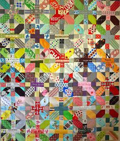 A great example of the x and + block quilt.  Makes me want to get back to mine