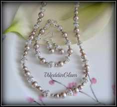 Fall Wedding Jewelry Light Champagne Pearl Necklace by WeddinGlam, $64.95