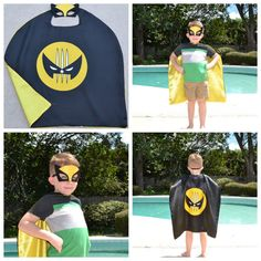 Wolverine Cape and Mask - Kids Boy Superhero Costume. Great for Child Toddler Birthday Party Outfit. Personalized Name available