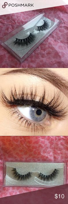 Mink lashes Brand new glam mink lashes. Natural looking hairs. Comes in hard plastic glitter box. Makeup False Eyelashes