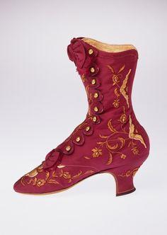 Boots, c 1868, François Pinet, Paris, silk, leather, metal
