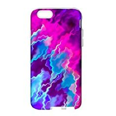 Stormy Pink Purple Teal Artwork Apple Seamless iPhone 6 Case (White) by KirstenStar
