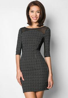 772a538cb EZRA BY ZALORA Mesh Insert Bodycon Dress 緊身連身裙 Fashion Brands