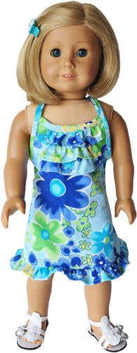 """American Girl 18"""" Clothes - Liberty Jane Pattern - Blue Floral Halter Dress"""