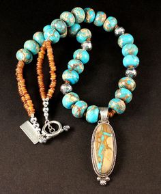 Royston Ribbon Turquoise and Sterling Silver Oval Pendant with Brazilian Jasper Rondelles, Horn Bead Discs and Sterling Silver