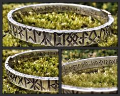Vardlokkur Bangle! A Runic reference tool, with the Northumbrian Futhark, Elder Futhark and Anglo Saxon Futhork variants, plus a number of singular medieval Runes. A useful and manly piece. Heavyweight, at 9x3mm profile 8cm dia (magical numbers;) and 73g of Sterling silver. Your great Grandchildren will be inheriting this! Feel free to request other Futharks or spells/mantras www.jasonofengland.co.uk