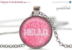 CIJ SALE HELLO Necklace Pink Hello Jewelry Hello by FrenchHoney, $13.05