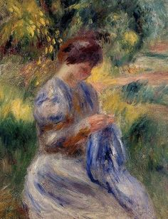 Women sewing by Pierre Auguste Renoir 1841-1919