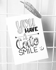 "55 vind-ik-leuks, 4 reacties - Claire van den Berg (@lettersbyberg) op Instagram: '""You have a cute smile"" Dag 10 @dutchlettering • • • #handlettering #handletteren #brushlettering…' Calligraphy Doodles, Calligraphy Drawing, How To Write Calligraphy, Doodle Lettering, Hand Lettering Quotes, Calligraphy Quotes, Typography Quotes, Brush Lettering, Word Drawings"