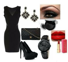 Black Dress #BlackChanelPurse #BlackGucciWatch