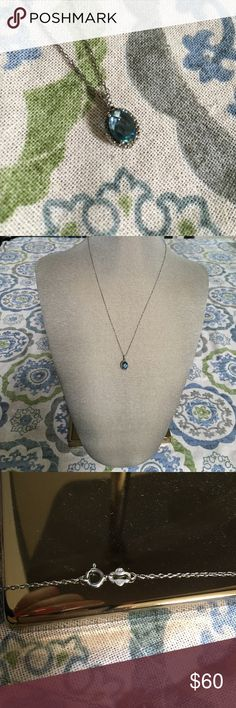 London Blue Pendant in Sterling Silver Beautiful, delicate London Blue topaz pendant! Set in sterling silver and on a chain. Jewelry Necklaces
